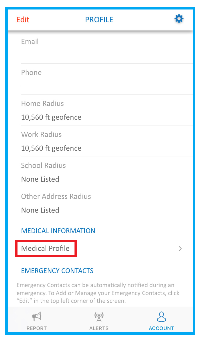 screenshot of SaferWatch app highlighting medical profile button
