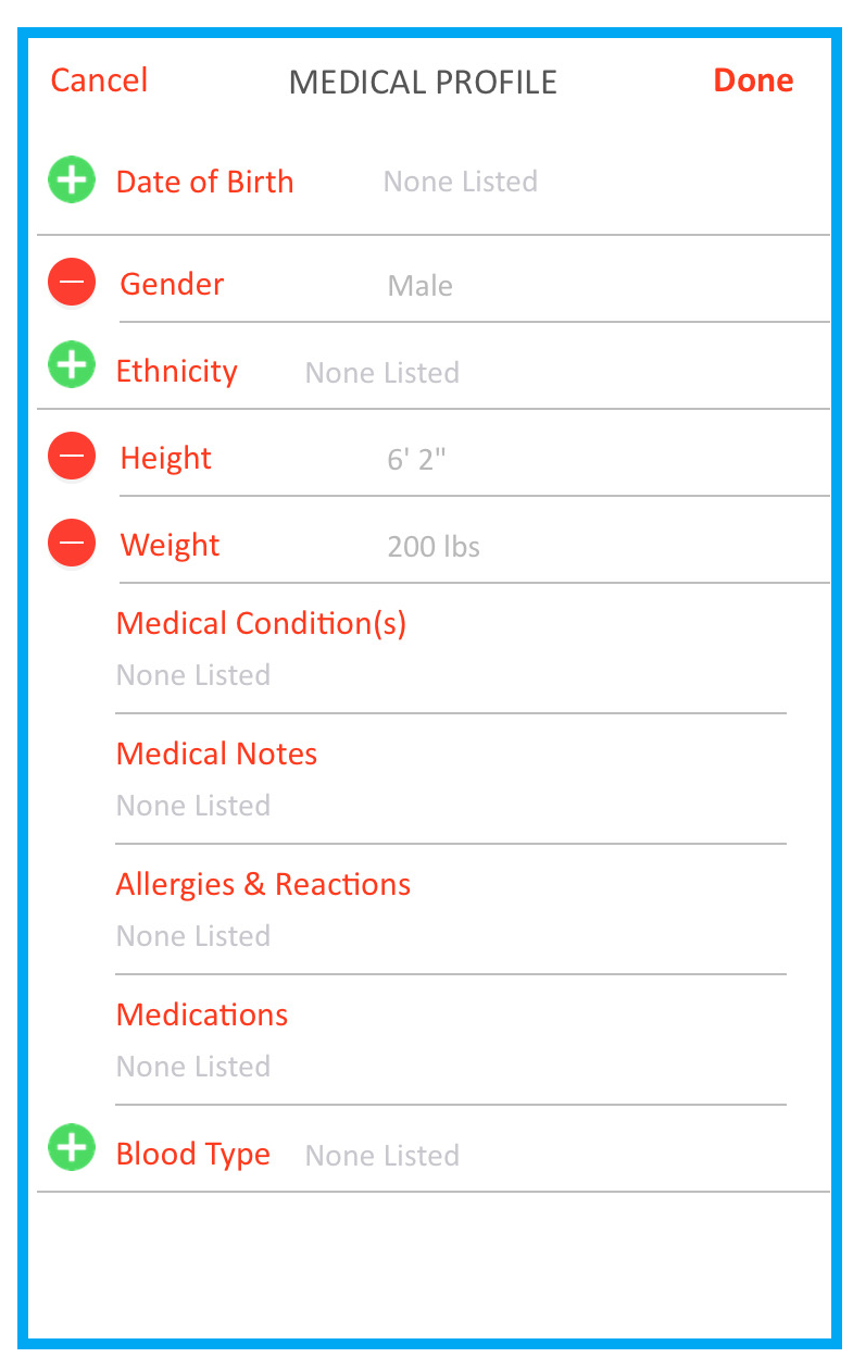screenshot of medical profile screen in SaferWatch app