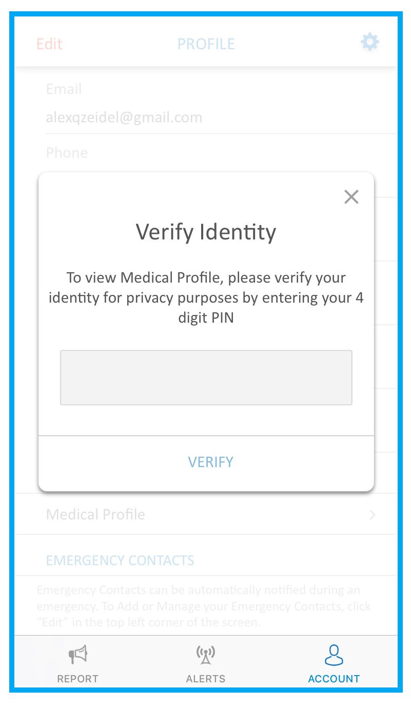 screenshot of identity verification prompt in SaferWatch app