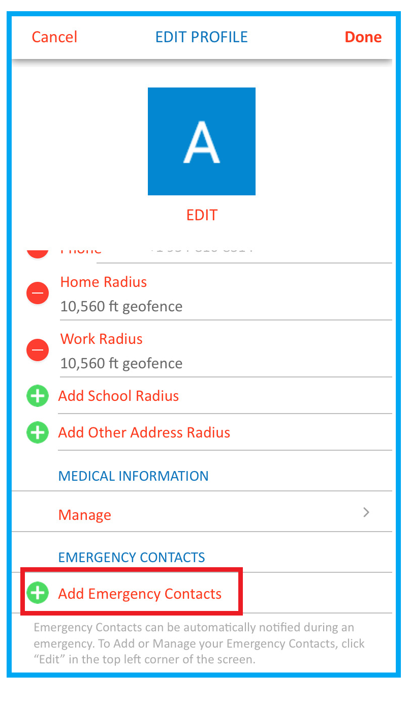 screenshot of SaferWatch app highlighting 'Add Emergency Contacts' button